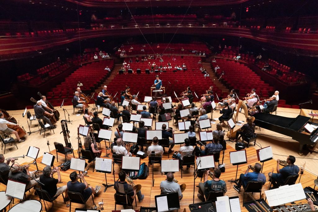 Picture of Philadelphia Orchestra in Concert Hall facing the conductor